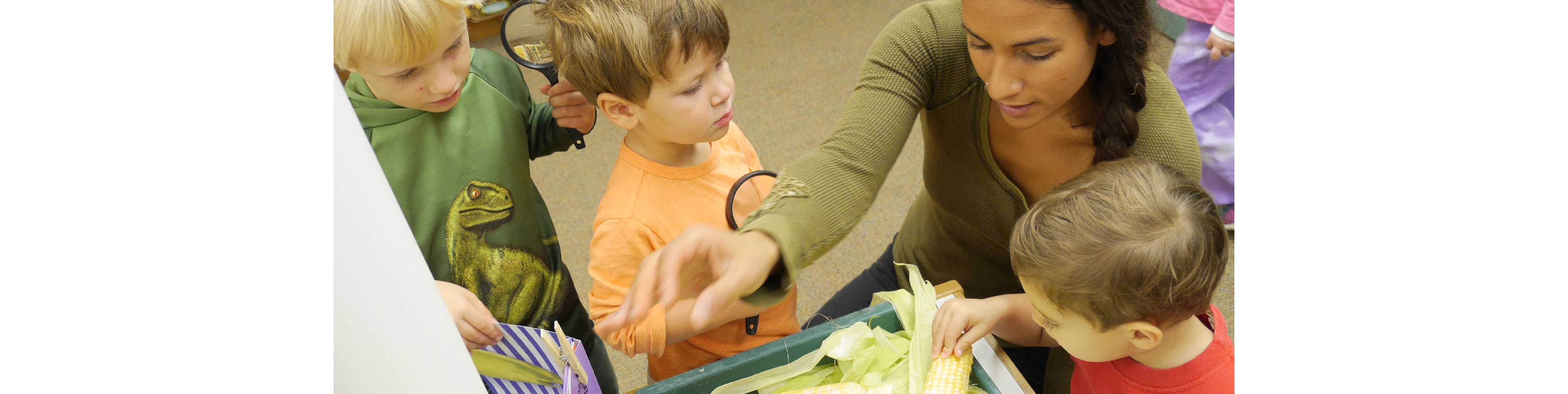 Children explore the natural world around them with hands on science explorations.